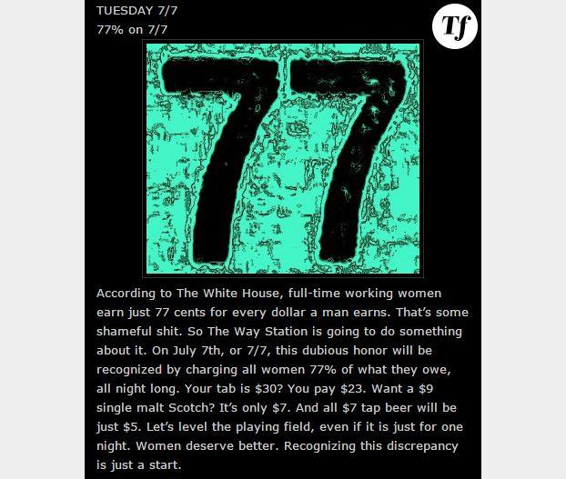 """L'annonce de la soirée """"77% on 7/7"""" postée sur le blog de """"The Way Station""""."""