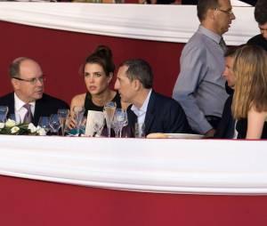 Gad Elmaleh et sa compagne Charlotte Casiraghi avec le Prince Albert de Monaco