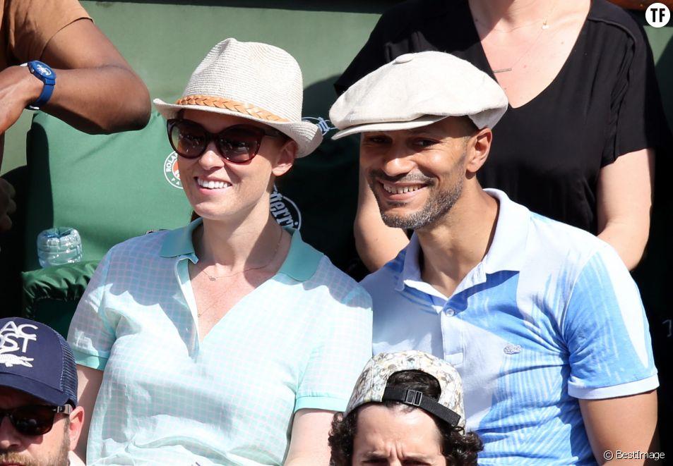 Audrey Fleurot et son compagnon Djibril Glissant à Roland Garros en 2014