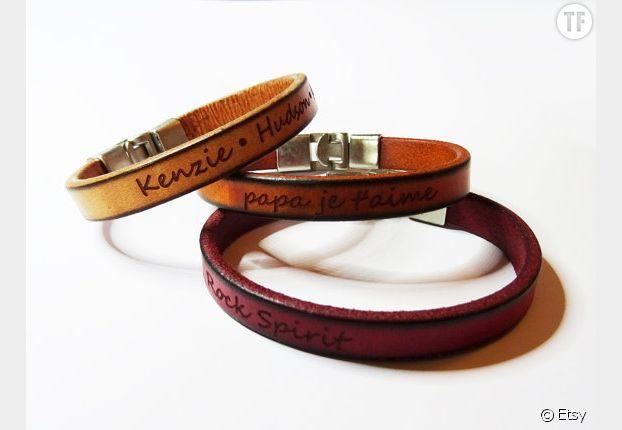 Bracelet en cuir gravé personnalisé