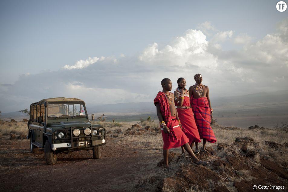 Trois guides de safari Massaï à Laikipia, Kenya.