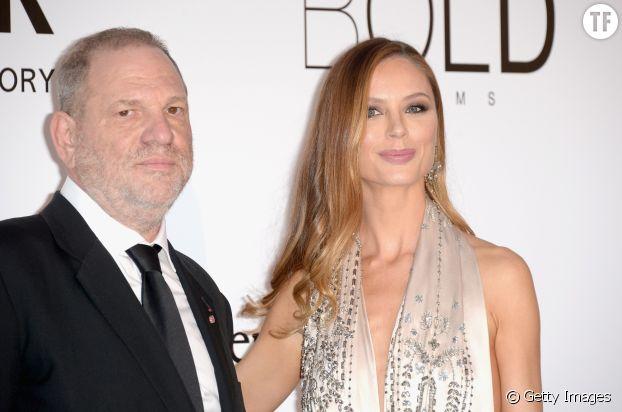 La créatrice de mode Georgina Chapman et son mari Harvey Weinstein au dîner de l'amfAR à Antibes en 2016.
