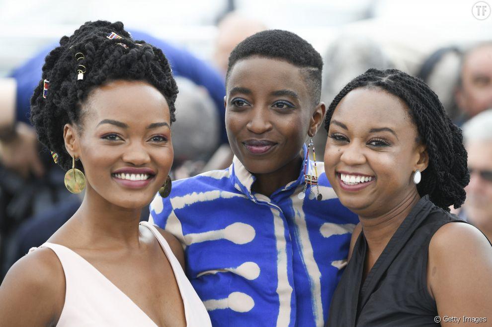 Les actrices Sheila Munyiva, Samantha Mugatsia et la réalisatrice Wanuri Kahiu au photocall de Rafiki à Cannes 2018
