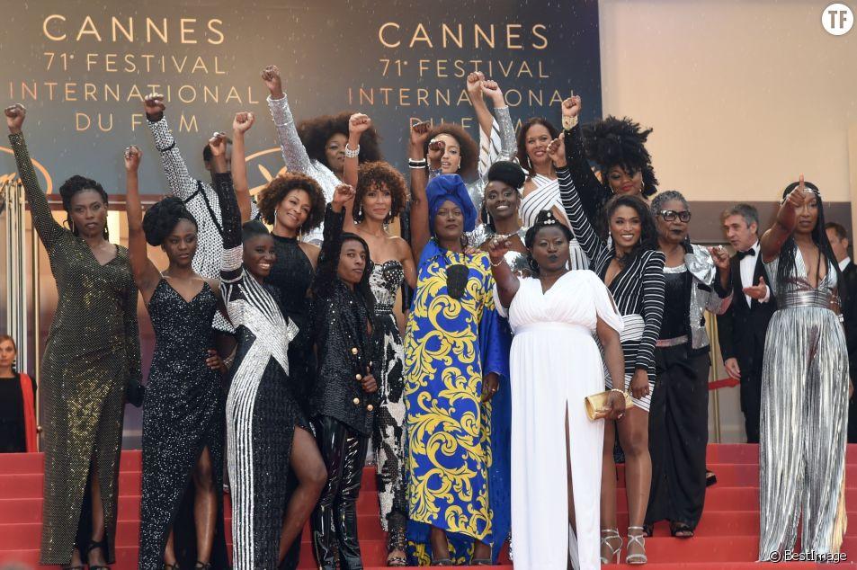 Le collectif Noire n'est pas mon métier sur les marches à Cannes 2018
