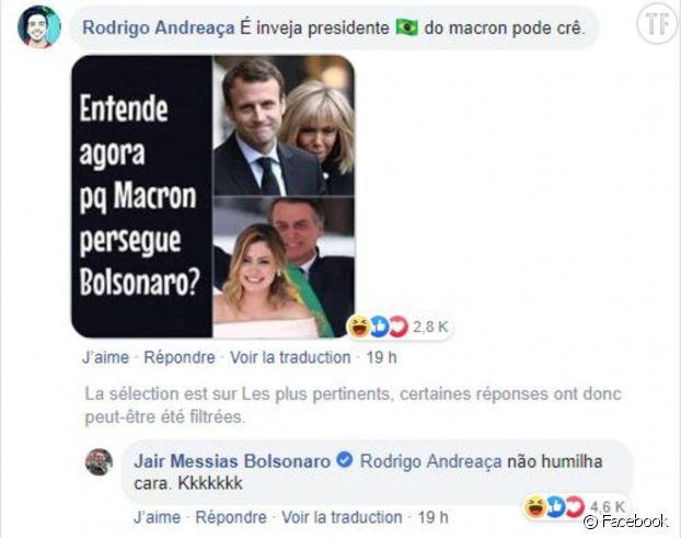 Le commentaire de Jair Bolsonaro, supprimé depuis.