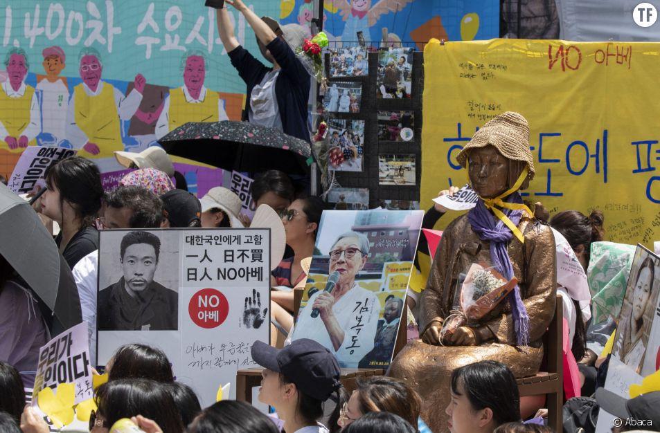 A Séoul, des manifestant·e·s exigent au Japon une compensation pour les ex-esclaves sexuelles, en août 2018.