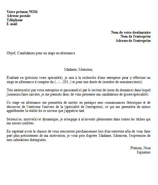 lettre de motivation pour un stage en alternance   mod u00e8le