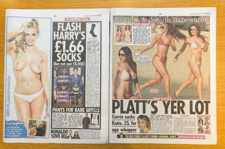 La page 3 du Sun avant et après