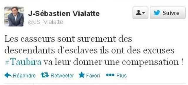 Tweet raciste de Jean-Sébastien Vialatte