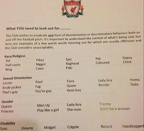 Les mots interdits par le club de Liverpool