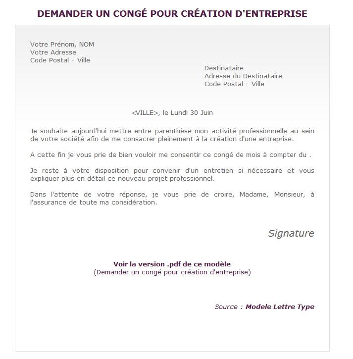Demander Un Conge Pour Creation D Entreprise Terrafemina