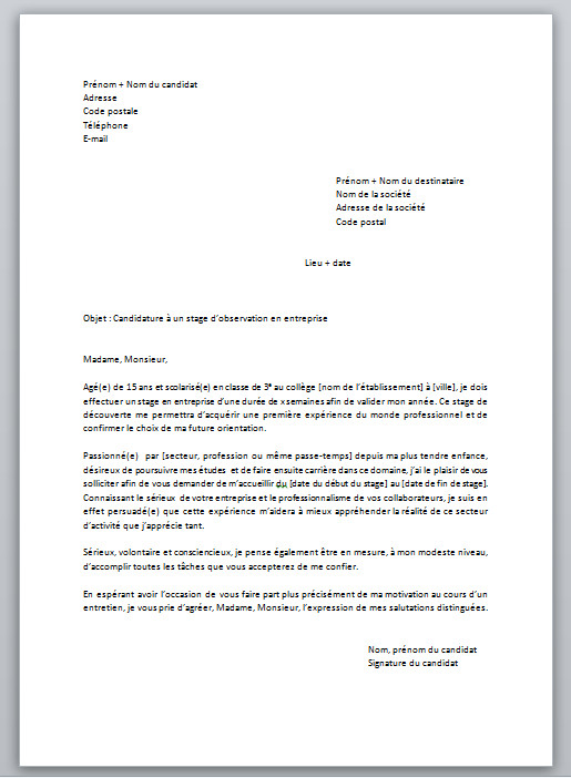 exemple lettre de motivation college