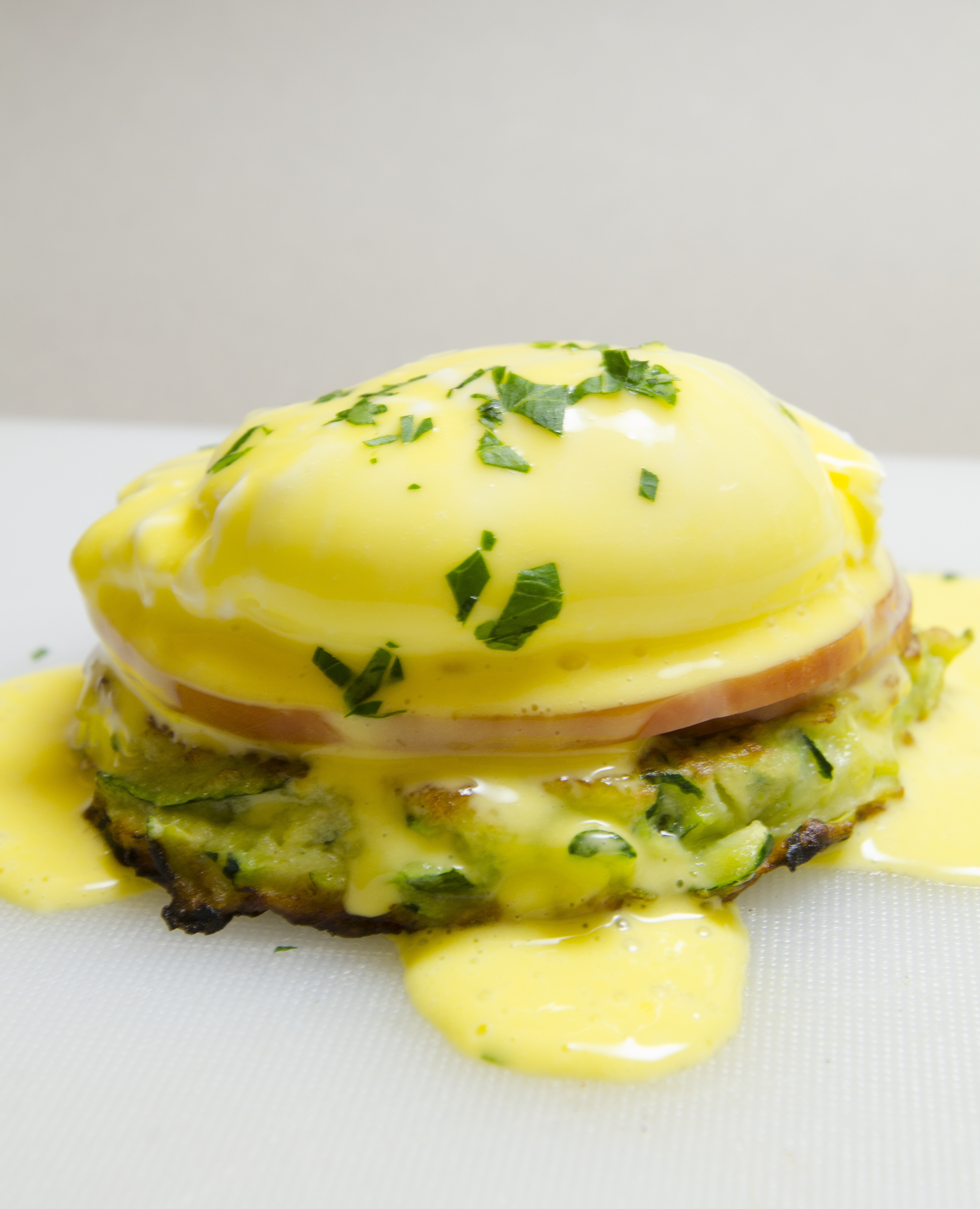 oeufs benedict pancakes courgette