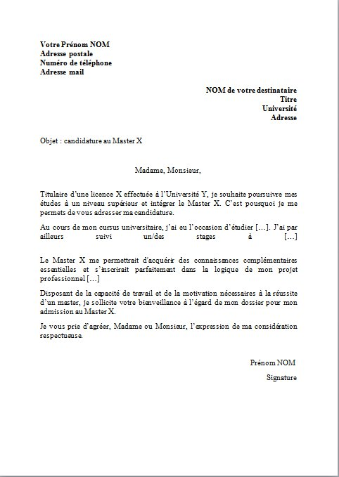 exemple d'une lettre de motivation pour inscription au master
