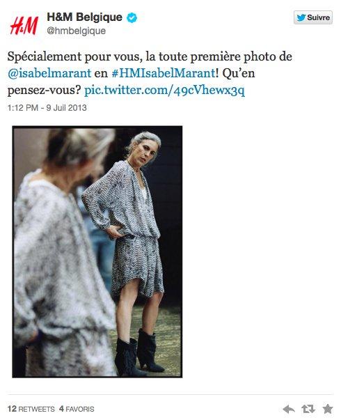 H&M Belgique tweet Isabel Marant