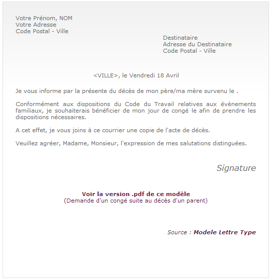 Modele lettre absence mariage