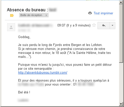 exemple de message d absence